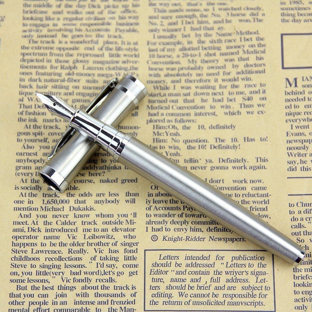 Pluma Estilogr/áfica,Hemore 1 Pcs Pluma de Metal Boligrafo L/ápiz elegante 13.3 cm,Buen Regalo para Ni/ños y Adultos,color plata