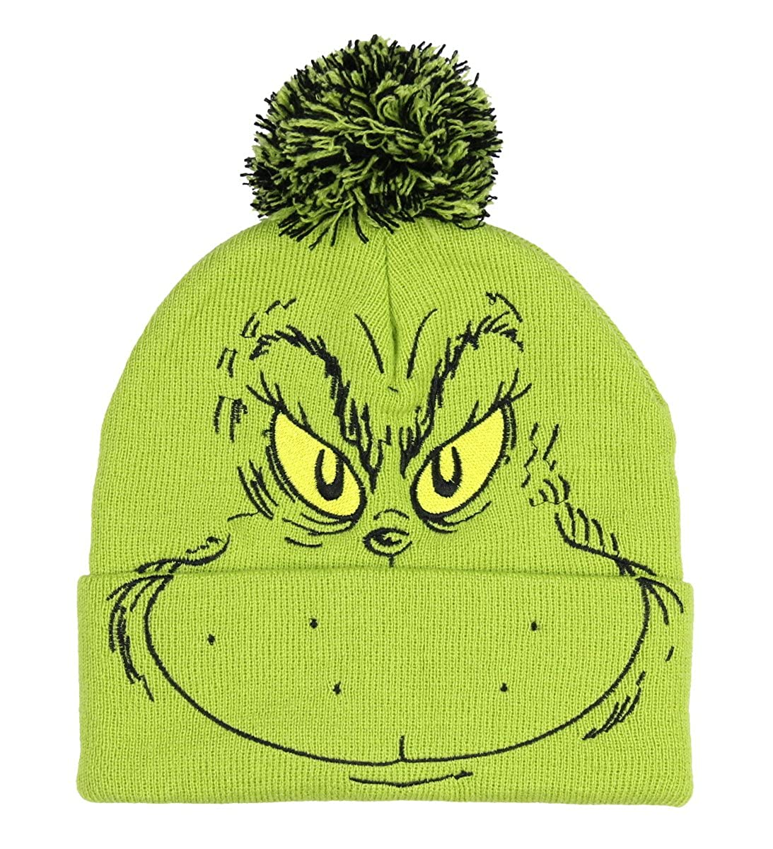 Dr. Seuss The Grinch Who Stole Christmas Pom Beanie Hat Embroidered Character Bioworld