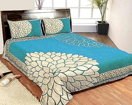 Amazon Com Kritarth Handicrafts Sky Blue Color Corner Design Queen