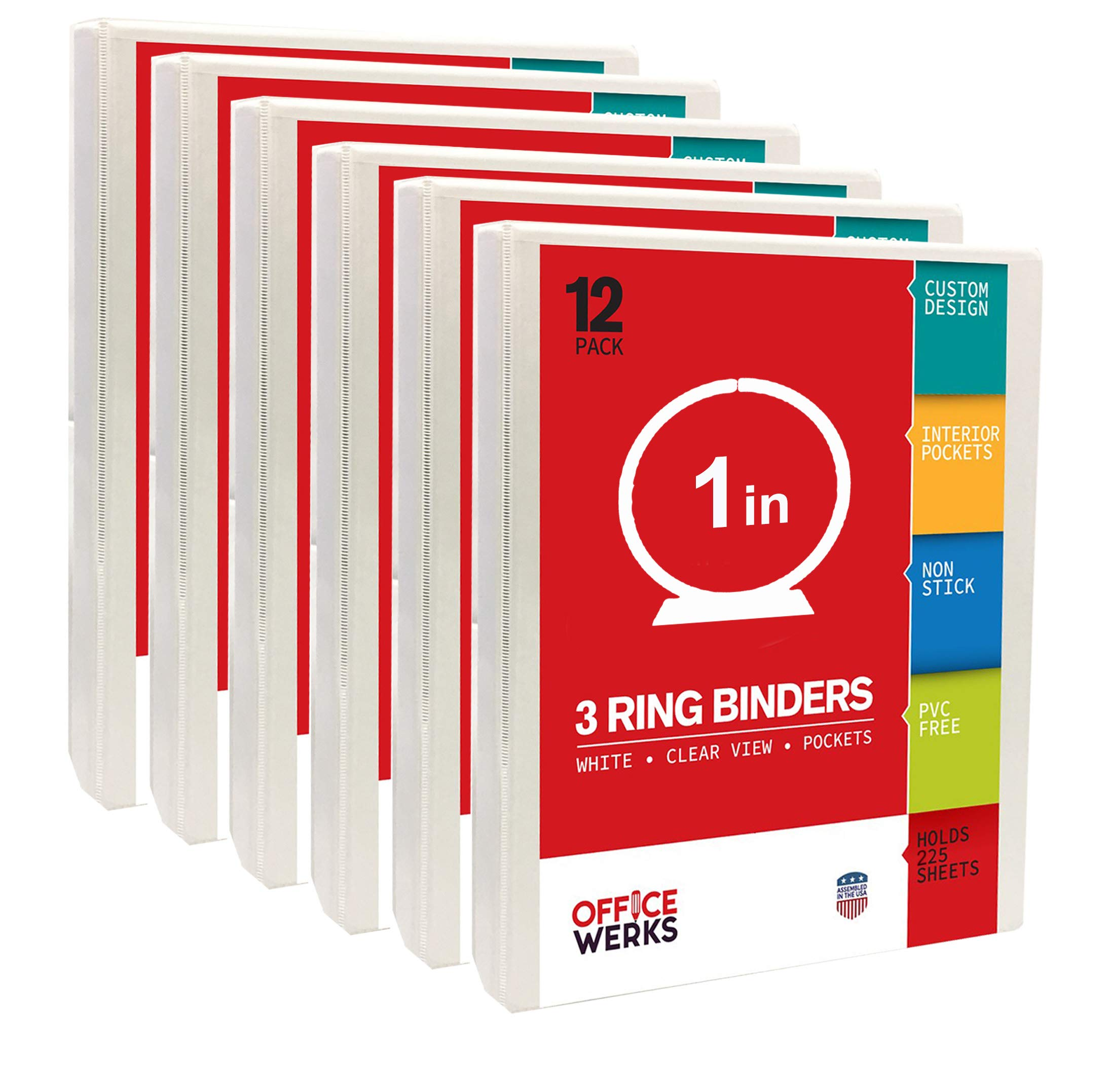 3 Ring Binder, 1 Inch, Round Rings, White, 12 Pack, Clear View, Pockets by Ring Binder Depot
