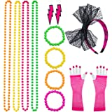 Keriber Plastic Neon Bracelets Multicolour Bead Necklaces Lace Bow Headband Long Fishnet Gloves Lighting Earring 80s Party Costume Accessories Set