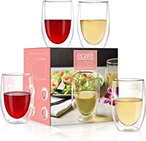 Wine Glasses - Set of 4-13 oz Tumbler Cup - Double Walled Glassware - Stemless Large Drinking Glass - Red & White Wine Tumblers by Eparé