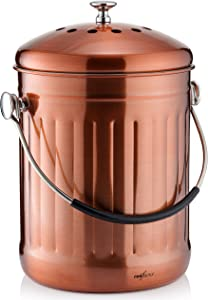 RED FACTOR Premium Compost Bin for Kitchen Countertop - Stainless Steel Food Waste Bucket with Innovative Dual Filter Technology - Includes Spare Filters (Matt Copper, 1.3 Gallon)