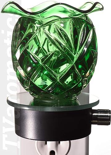 TVaromatics Green Glass Plug-in Aroma Lamp Oil Warmer