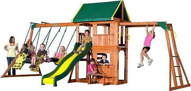 Backyard Discovery Prairie Ridge All Cedar Wood Playset Swing Set, 55006, Bronze