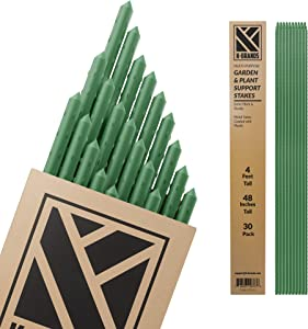 K-Brands Garden Plant Stakes 4 ft Sturdy Steel Plant Stakes and Supports for Tomato, Tree, Vines and More - 30 Pack with 160 Feet Twist Tie