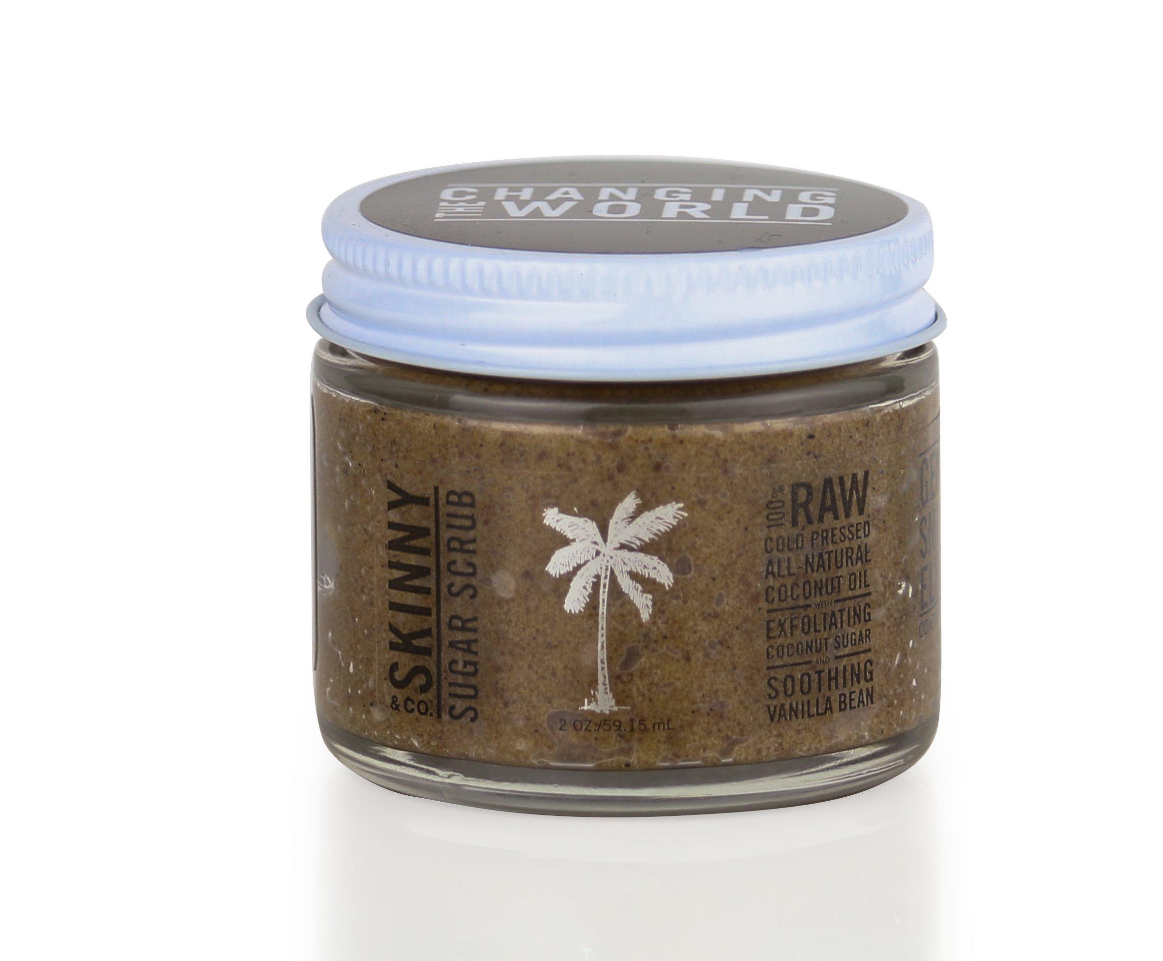 Skinny & Co. Sugar Scrub, Hydrate and Exfoliate Skin, All Natural with Coconut Oil and Vanilla Body Scrub (2 oz.)