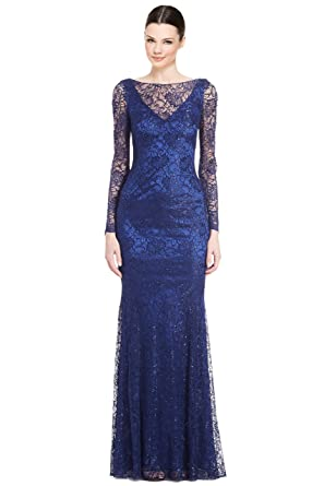b4c91563 Theia Lace Long Sleeve Evening Gown Dress at Amazon Women's Clothing ...