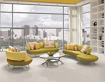 US Pride Furniture Adelina 4 Piece Modern Top Grain Leather Sofa Set Lemon Green