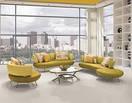 US Pride Furniture Adelina 4 Piece Modern Top Grain Leather Sofa Set, Lemon  Green/