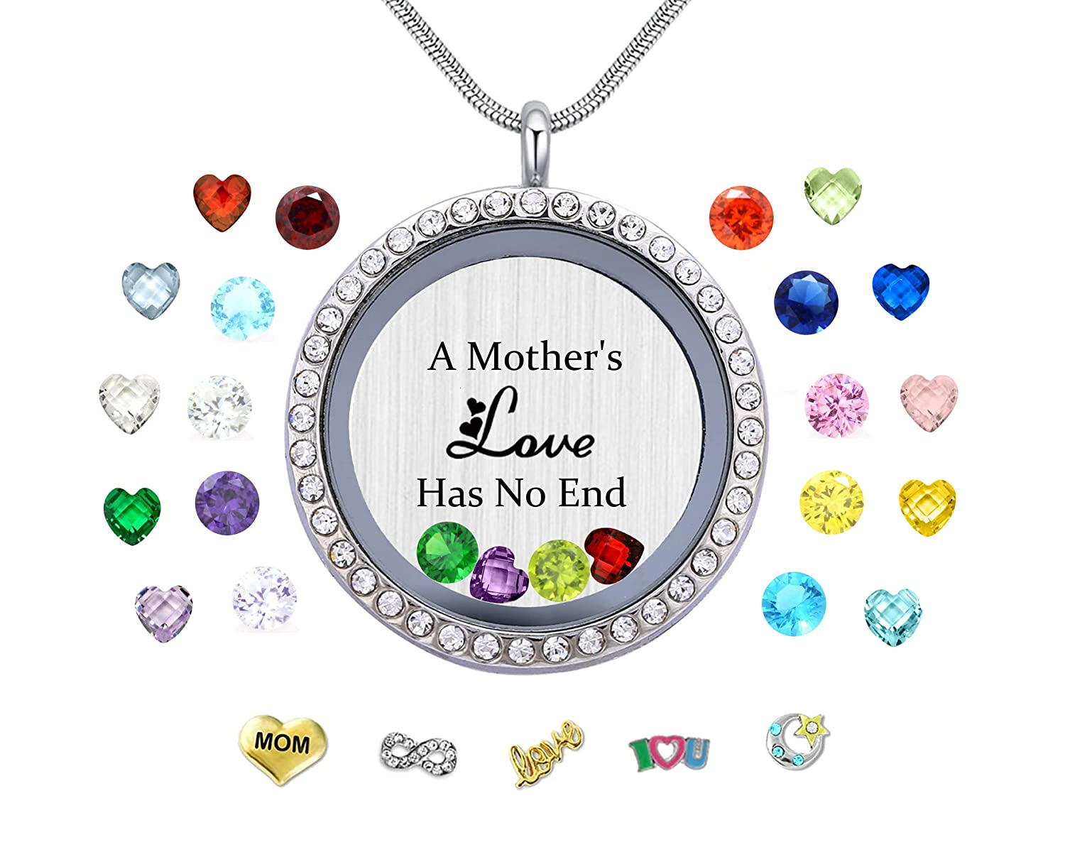 e958c4bb5 Amazon.com: Vinncy A Mothers Love Has No End Floating Locket Necklace  Pendant with Charms & 24PCS Birthstones, Mother's Day Birthday Xmas Gifts:  Jewelry