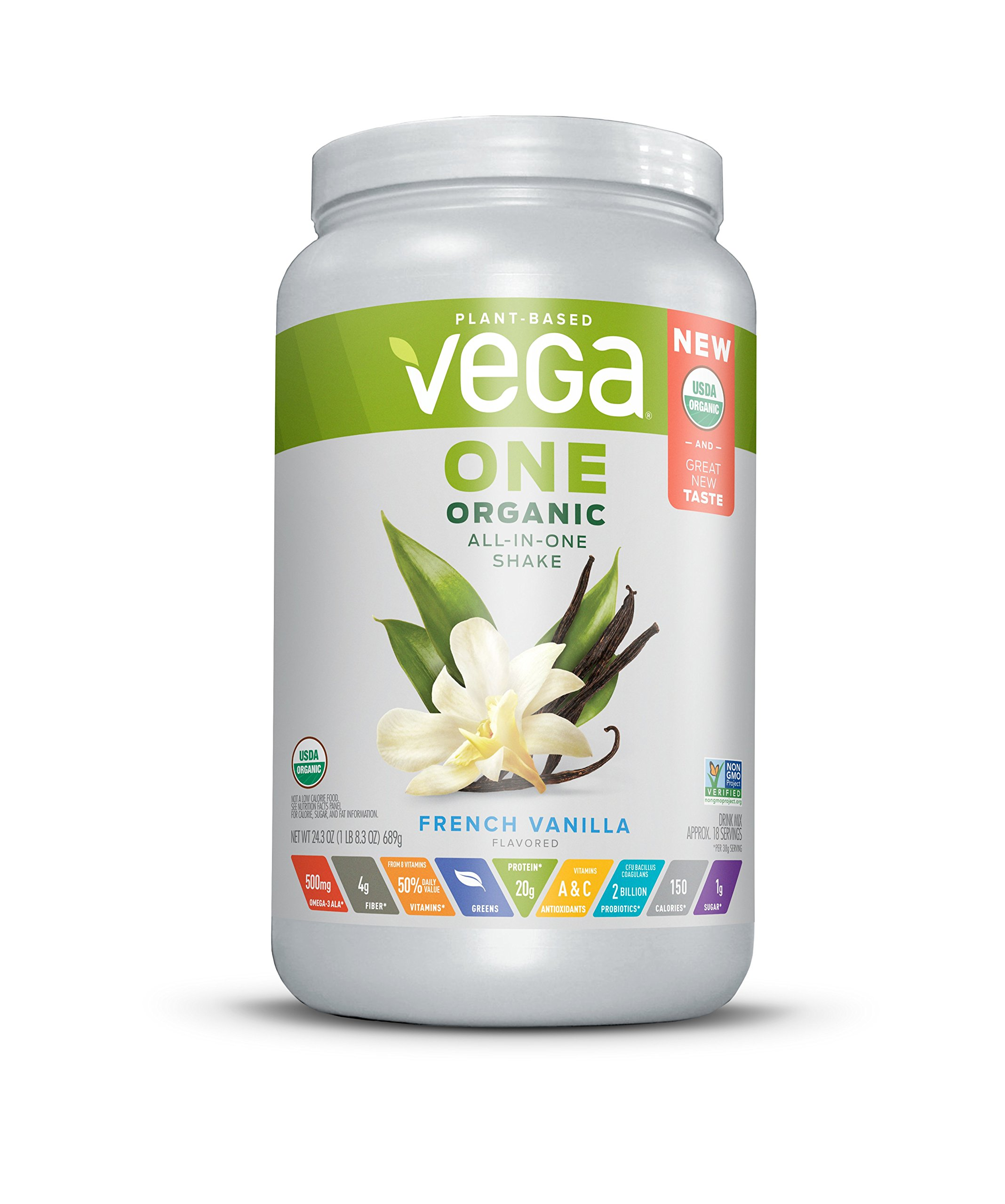 Vega One Organic All-in-One Shake French Vanilla (18 Servings) - Plant Based Vegan Protein Powder, Non Dairy, Gluten Free, Non GMO, 24.3 Ounce (Pack of 1) by VEGA