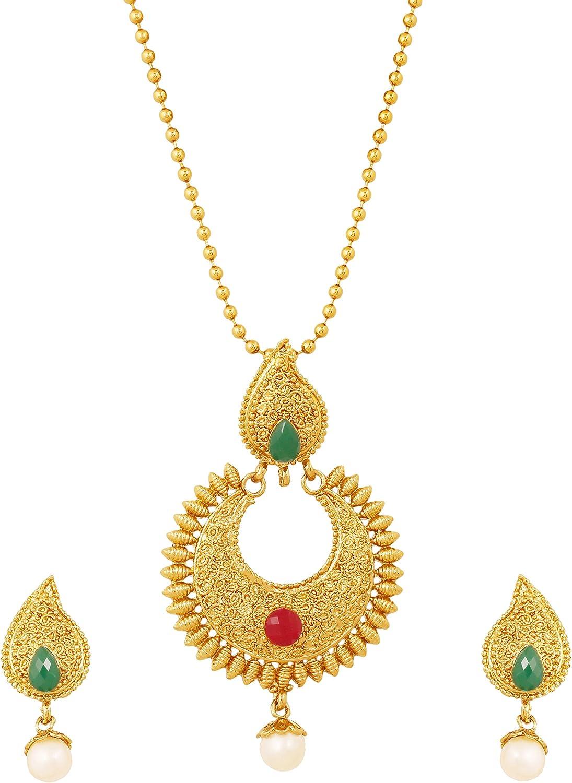 Touchstone Bollywood Indien Motif Paisley Traditionnel Fine Inde du Sud Inspiration de Fabrication Faux Ruby Emerald Pearls Designer Temple Jewelry Set de Pendentif en Ton Or Antique pour Les Femmes.