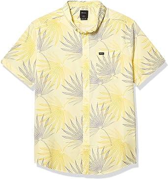 RVCA - Camisa con Botones para Hombre, diseño de Palmas Tropicales - Amarillo - XX-Large: Amazon.es: Ropa y accesorios