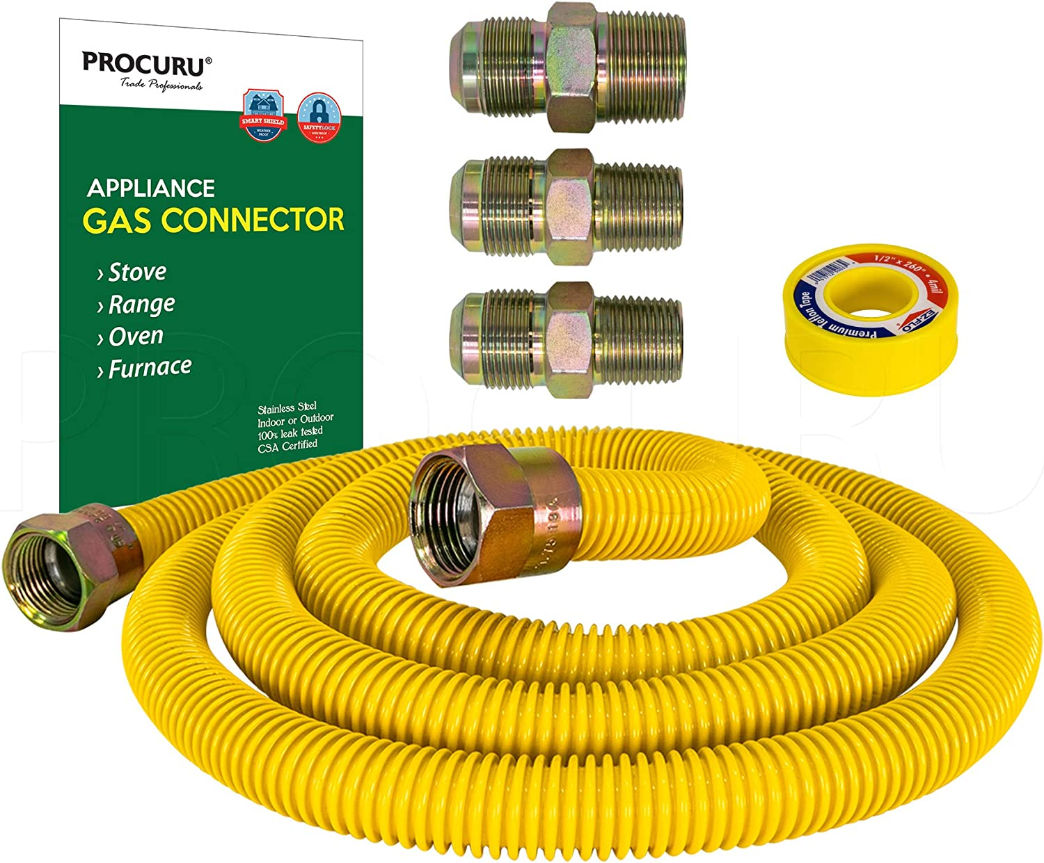 "PROCURU 5/8"" OD x 72"" Gas Flex Line Connector Kit for Stove Range, Furnace WeatherProof Stainless Steel with SafeGuard Coating"