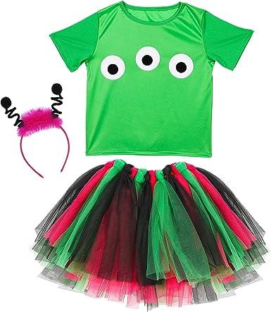 WIDMANN 96538 infantil Disfraz Alien, niña, Verde, Rosa, Negro , color/modelo surtido