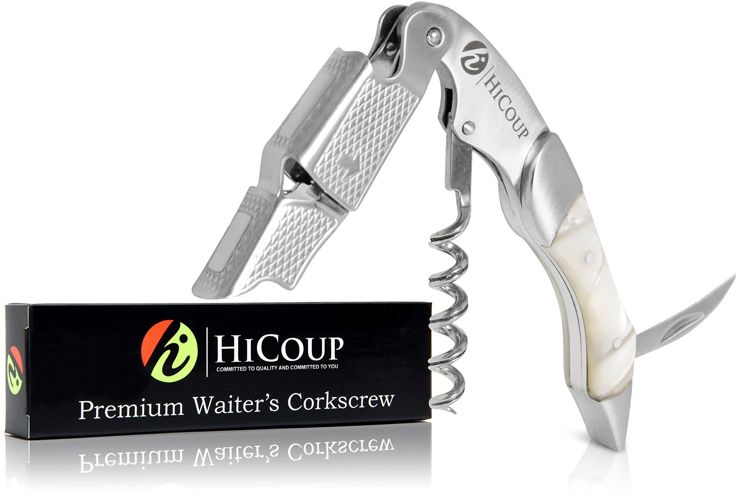 Waiters Corkscrew by HiCoup -Professional Stainless Steel with Moonstone Resin Inlay All-in-one Corkscrew, Bottle Opener and Foil Cutter, the Favoured Wine Opener of Sommeliers, Waiters and Bartenders