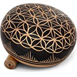 Meditative 6 inch Flower of Life Design Singing Bowl with Mallet and Cushion. Tibetan Sound Bowls for Energy Healing, Mindful