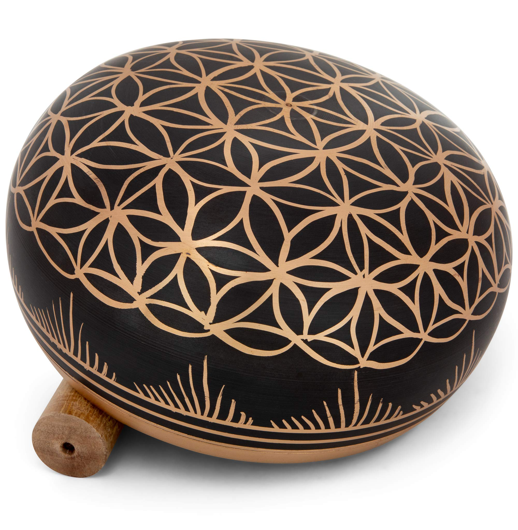Meditative 6 inch Flower of Life Design Singing Bowl with Mallet and Cushion. Tibetan Sound Bowls for Energy Healing, Mindfulness, Grounding, Zen, Meditation, Exquisite, Unique Home Decor and Gift Set by Telsha