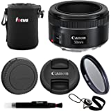 Canon EF 50mm f/1.8 STM Lens with 49mm UV Filter and Small Nylon Padded Lens Pouch Accessory Bundle