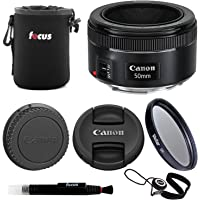 Canon EF 50mm f/1.8 STM Standard Prime Lens with Essentials Bundle Including: 49mm UV Filter, Padded Lens Pouch, Lens Cap Keeper, and Lens Cleaning Pen
