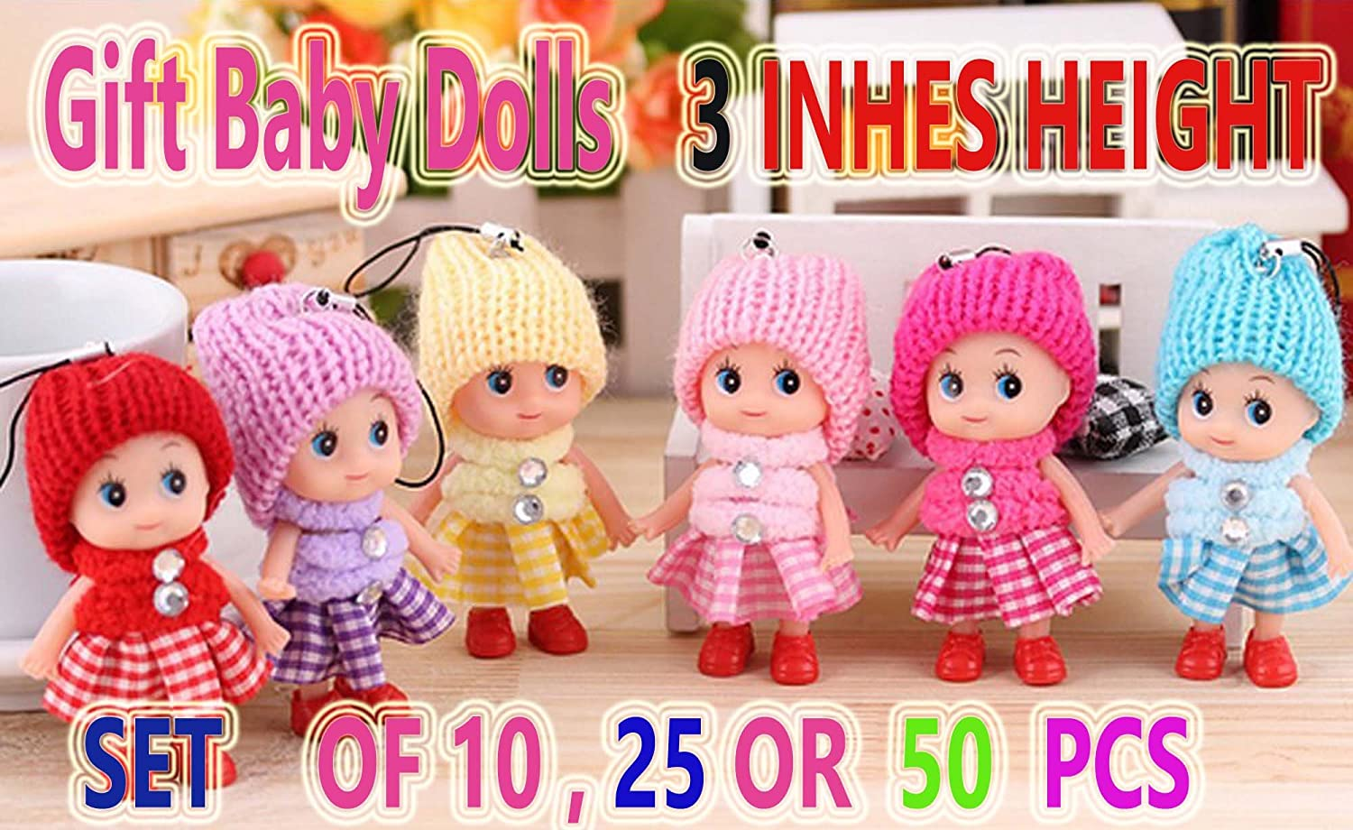 GOOD FOR PARTY CHRISTMAS DECORATION SET OF 50 BABY DOLLS KEY CHAIN