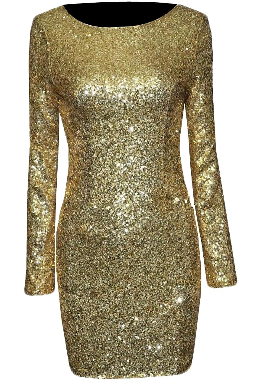 Unko Womens Club Long Sleeve Midi Bodycon Tight Evening Club Dress