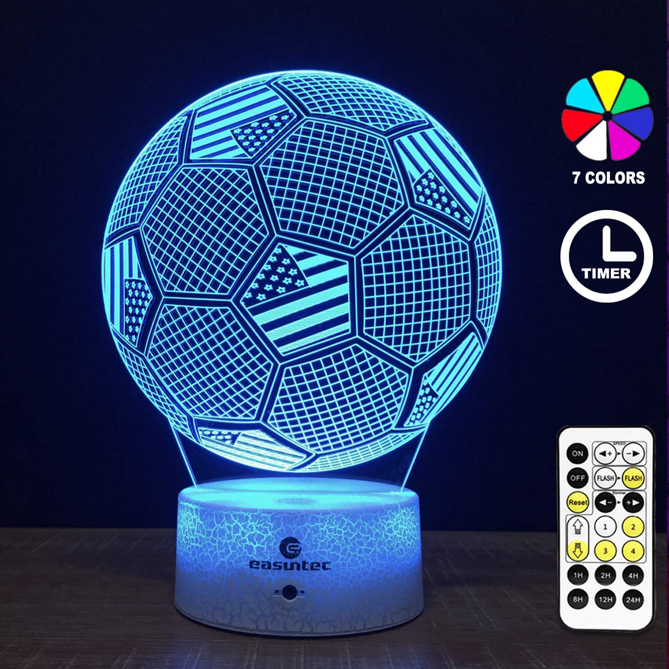 Easuntec Soccer Toys for Boys,Soccer Ball Night Light with Timing Remote Control & Smart Touch 7 Colors Kids Toys Age 5 6 7 8 9 10 Year Old Girl or Boy Gifts (Soccer) by easuntec (Image #1)