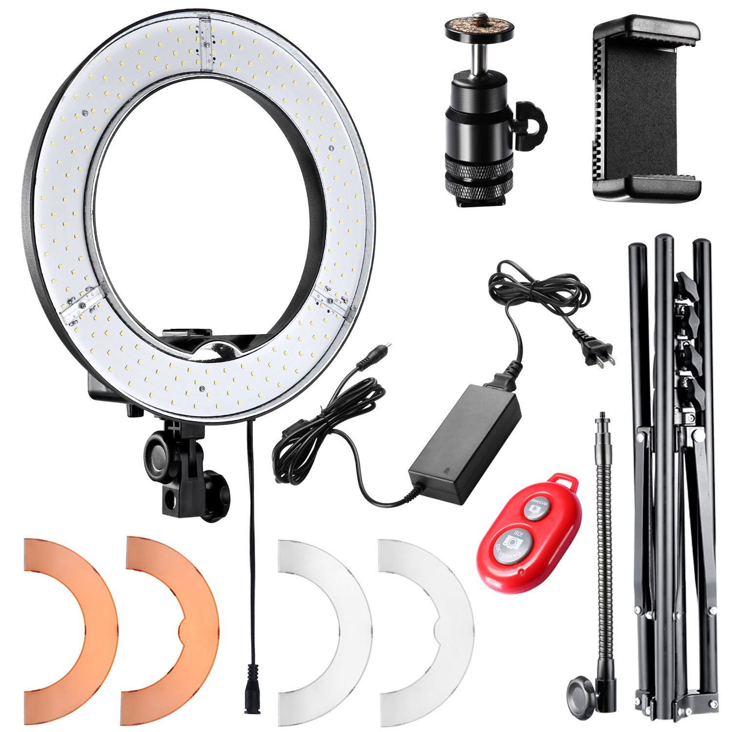 Neewer Camera Photo Video Lightning Kit: 18 inches/48 centimeters Outer 55W 5500K Dimmable LED Ring Light, Light Stand, Bluetooth Receiver for Smartphone, YouTube, Vine Self-Portrait Video Shooting 10088612@@##1