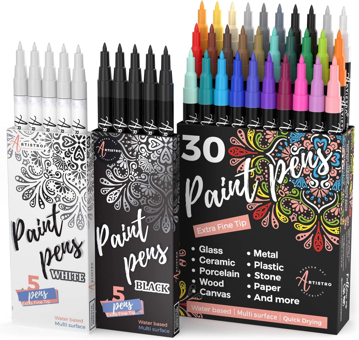 30 Acrylic Paint Markers Extra Fine Tip, 5 Acrylic Black Paint Markers and 5 Acrylic White Paint Markers, Bundle for Rock Painting, Wood, Fabric, Card, Paper, Photo Album, Ceramic & Glass