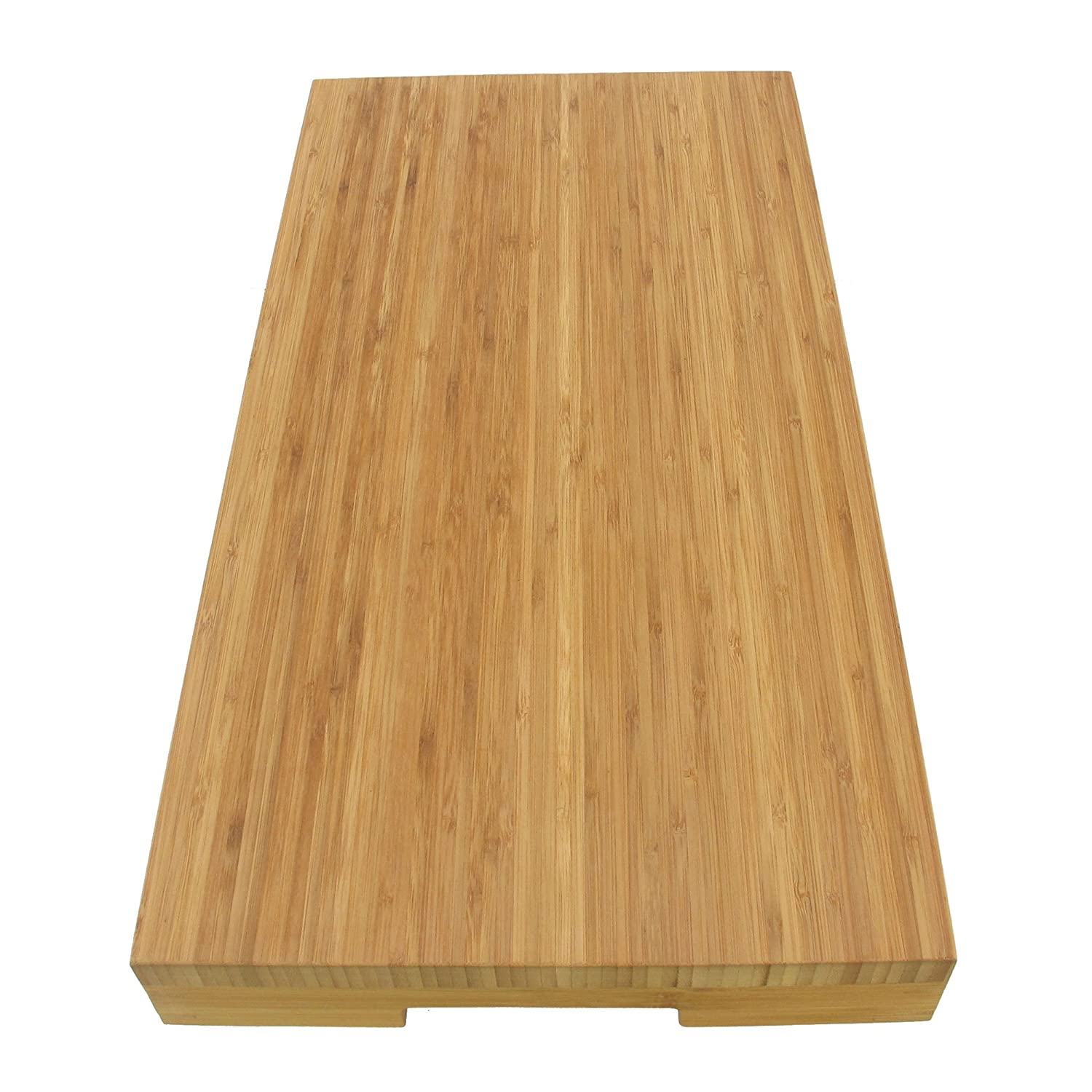 "BambooMN Brand Bamboo Burner Cover/Cutting Board for Viking Cooktops, New Vertical Cut with Open End, Large (22.68""x11.75""x2.28"")"
