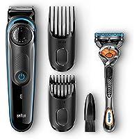 Braun BT3040 - Recortadora barba y cortapelos, con cuchillas afiladas de larga duración, incluye maquinilla Gillete Fusion5 ProGlide con tecnología FlexBall, negro/azul
