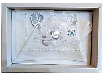 Set completo 3 pezzi lenzuola per culla e carrozzina colore bianco