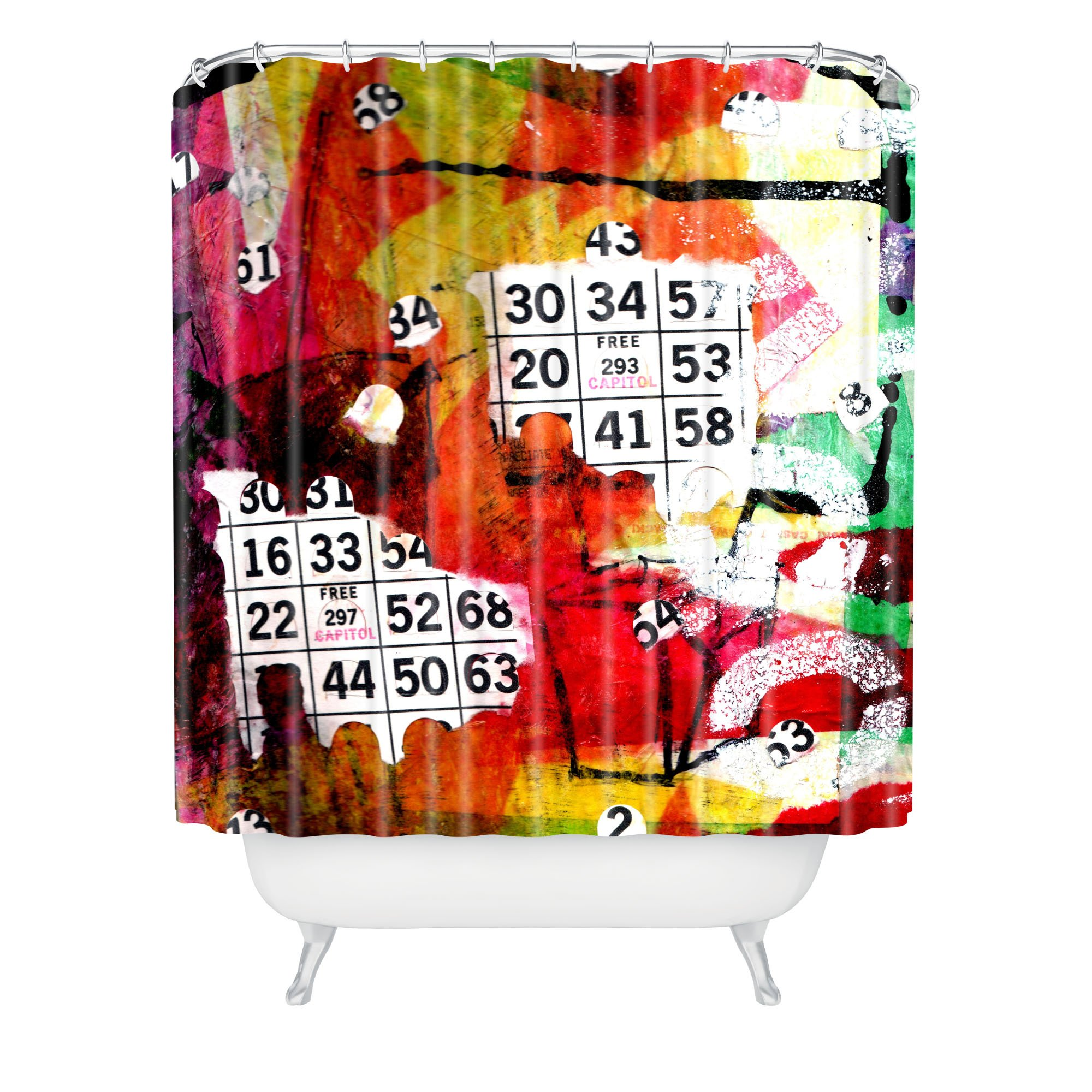Deny Designs Sophia Buddenhagen Bright Bingo 2 Shower Curtain, 69'' x 72''
