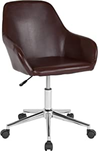 Flash Furniture Cortana Home and Office Mid-Back Chair in Brown LeatherSoft