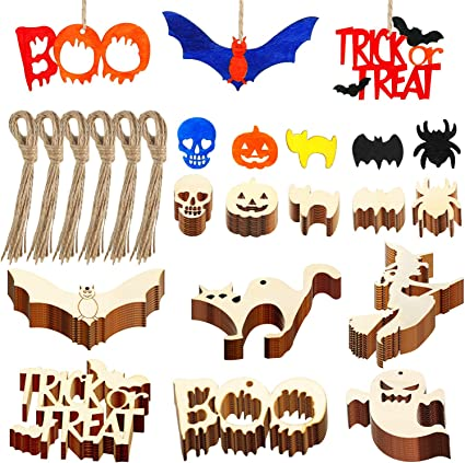 Style Set 3 50 Pieces Halloween Wooden Crafts Hanging Wood Ornament Halloween Wood Cutout Gift Tags with Twine Ropes for Halloween DIY Home Decor