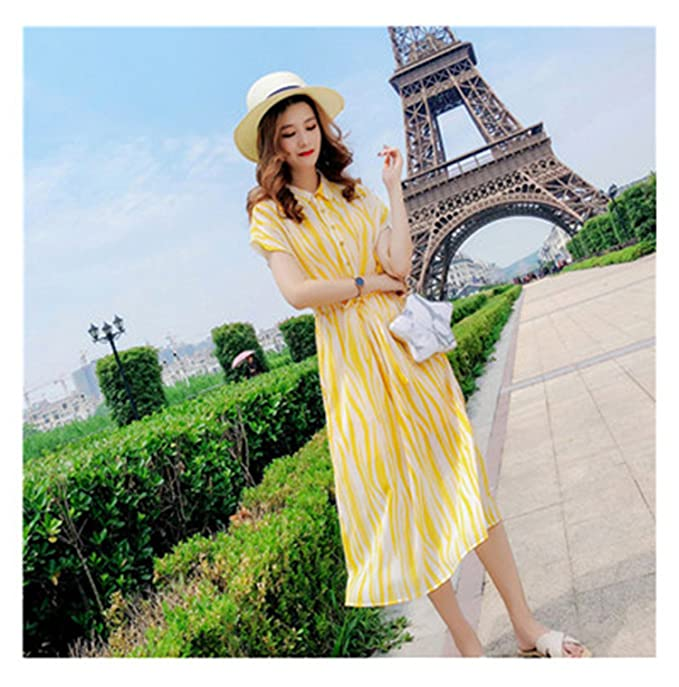 Melissa Fashion New Dress Summer 2018 Striped Chiffon Women Dress Temperament Waist Shirt Dress Gentle Super Dress at Amazon Womens Clothing store: