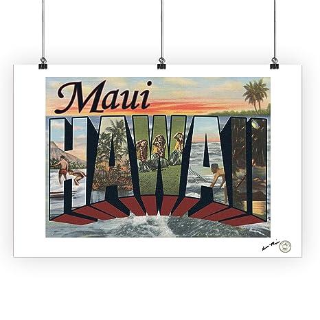 Amazon Maui Hawaii Large Letter Scenes Vintage Halftone
