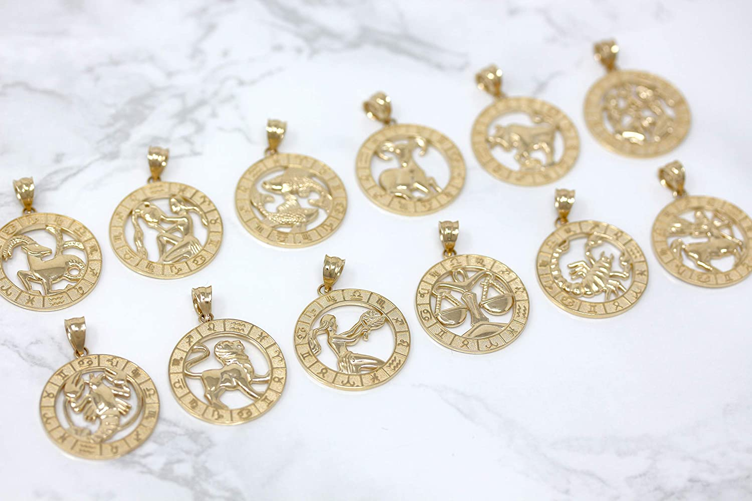 CaliRoseJewelry 10k Yellow Gold Zodiac Pendant JewelryDepotUSA MP2430YG-3-PS-10k
