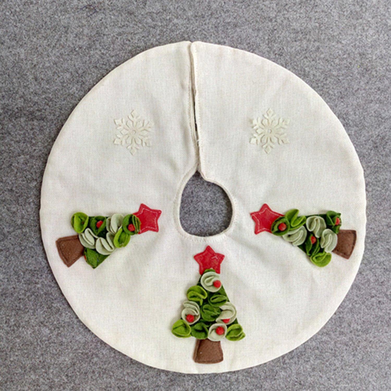 16 inch Small White Burlap Christmas Tree Skirt with 3D Christmas Tree for Christmas Home Decorations