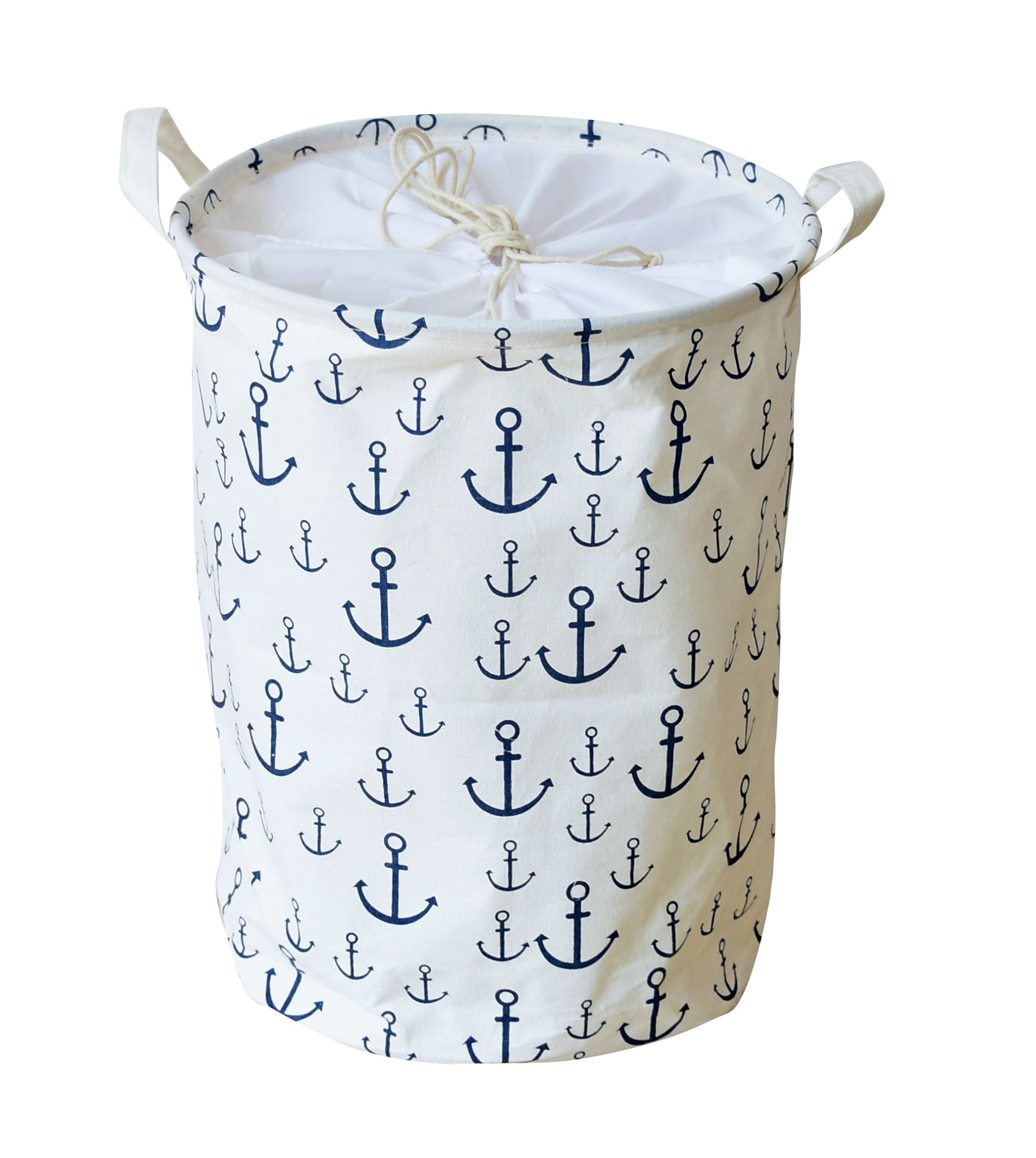 LEELI Clothes Hamper with Lid,Cotton Canvas Laundry Hamper with Handles-Toy Basket Organizer Kids Storage Bins for Clothes(Anchor)