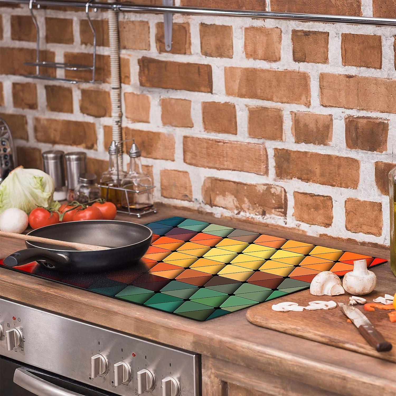 Pour induction Plaque de protection pour cuisini/ère TMK 60 x 52 cm Protection contre les /éclaboussures Avec mosa/ïque En verre Plaque /à d/écouper d/écorative