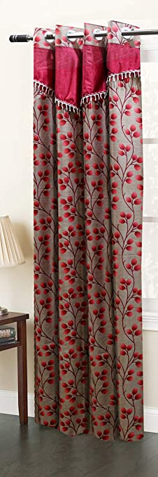 Homefab India Designer Floral Eyelet Polyester Window Curtain - 5ft, Maroon (Pack of 1) Curtains at amazon