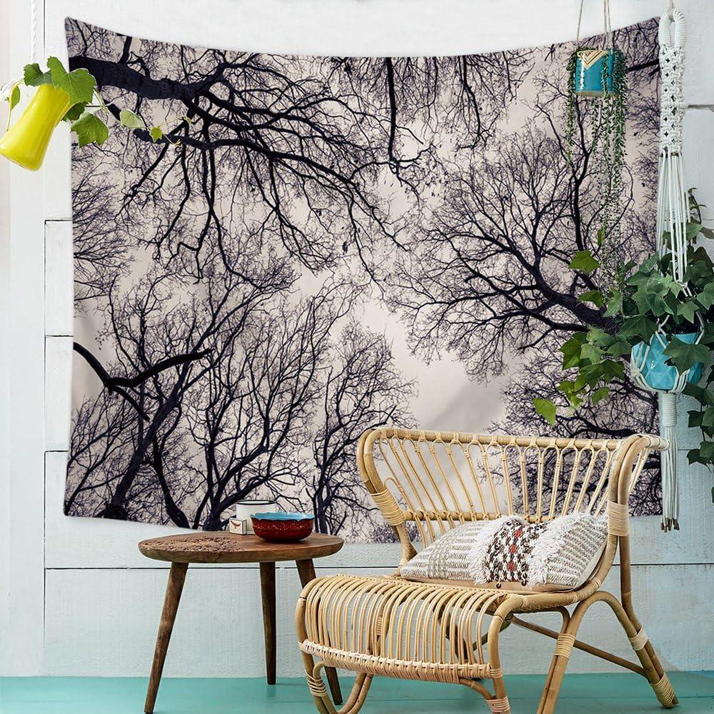 Schwarz Weiss Wald Himmel Wandteppich Natur Landschaft Wandbehang Tapestry Tapisserie Wandtuch Tischdecke Strandtuch 100x150cm