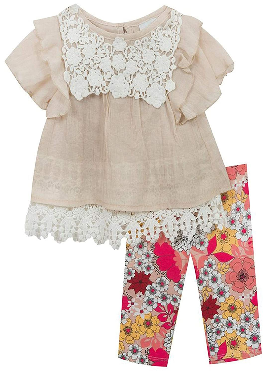 Rare Editions Girls 4-6X Taupe Gauze Lace Top Floral Legging Pants