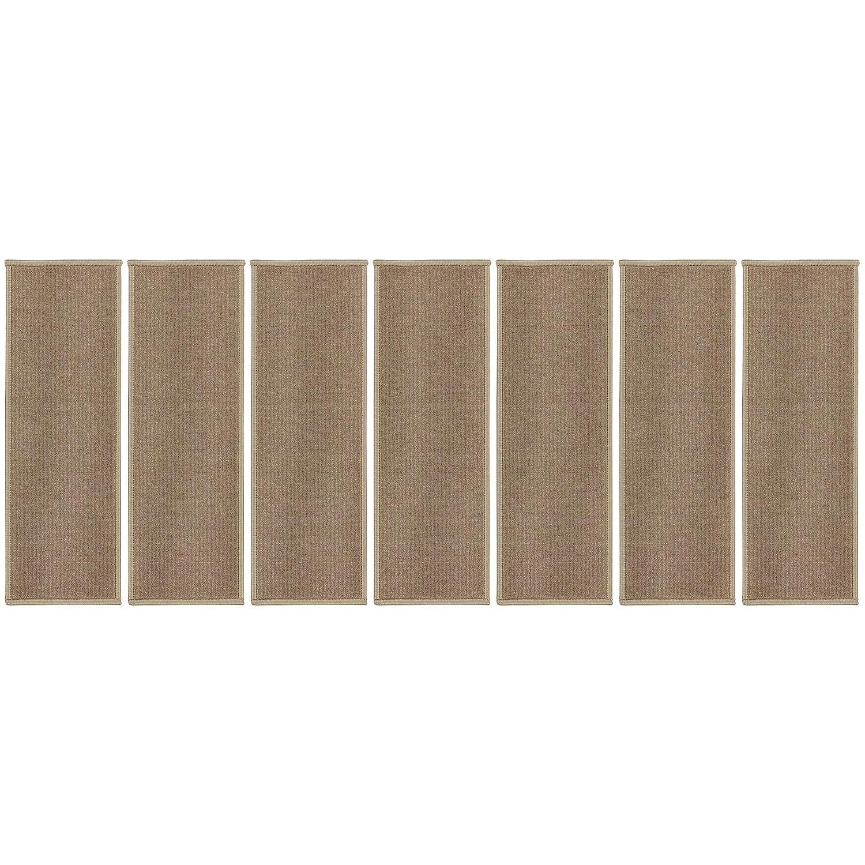 Ottomanson Escalier Skid-Resistant Rubber Backing Non-Slip Carpet Stair Treads 8.5 X 31 7 Pack Dark Beige