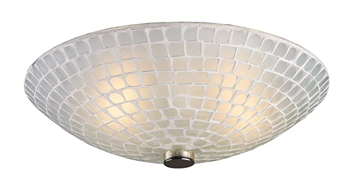 Fusion 2-Light Semi Flush in Satin Nickel with White Mosaic Glass