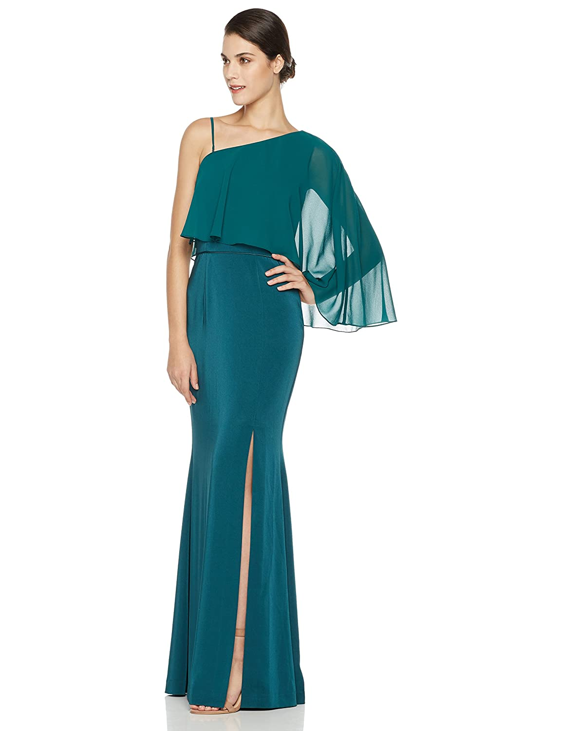 c63d99ffd8 Floor-length gown featuring asymmetrical neckline with sheer chiffon popover  and slit skirt. Back zipper