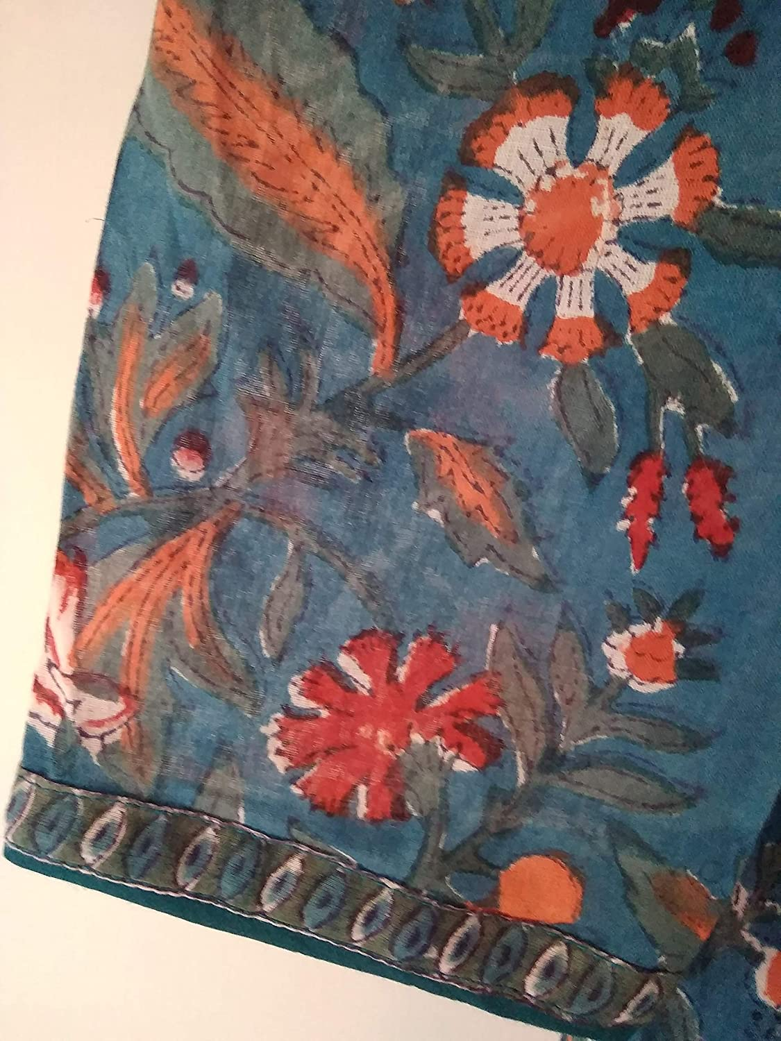 13d840286e Amazon.com: Teal Blue Red & Orange Chinoiserie Floral Anokhi Hand block  print Indian cotton Gypsy style Maxi Dress: Handmade