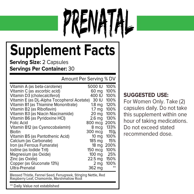 Vitaminas Prenatales - Vitaminas Diarias Para la Gestación con Ácido Fólico - Vitaminas A B C D3 y E - Con Calcio, Hierro y Zinc - 60 Cápsulas (Suministro ...